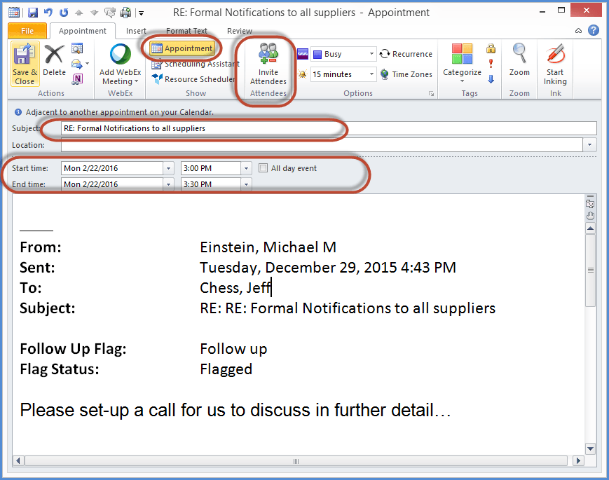 OUTLOOK EMAIL APPOINTMENT SCREENSHOT2
