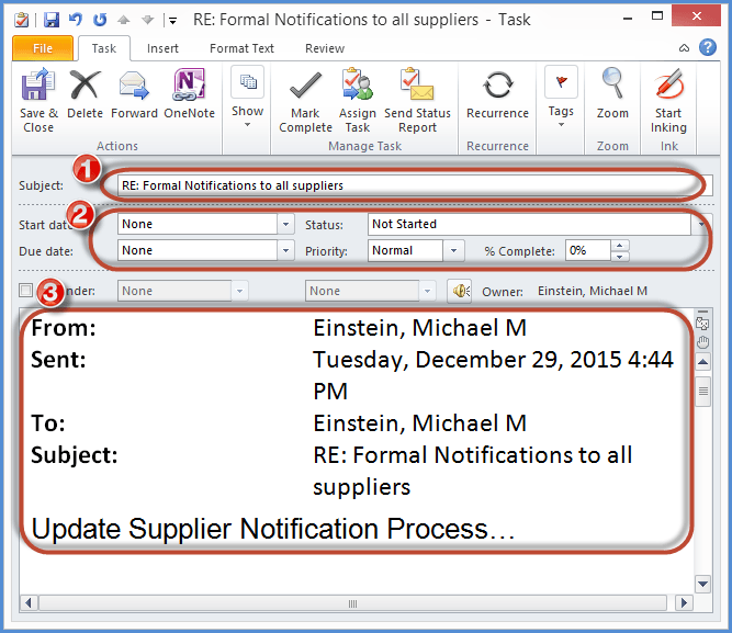 Outlook Email Convert Tasks Screenshot2