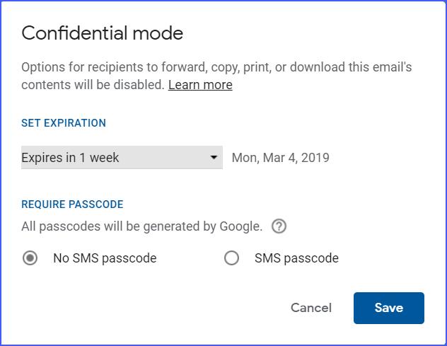 Gmail Confidential Mode Screenshot 2