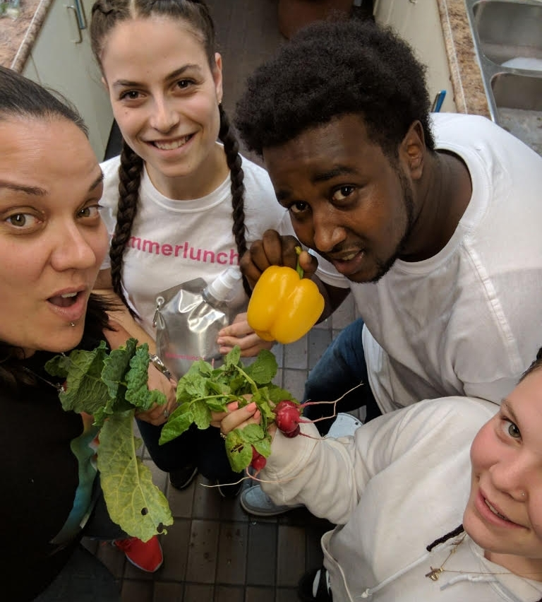 Joeie,Kiley,Celina and Hussein run the summerlunch+ program at Alex Park