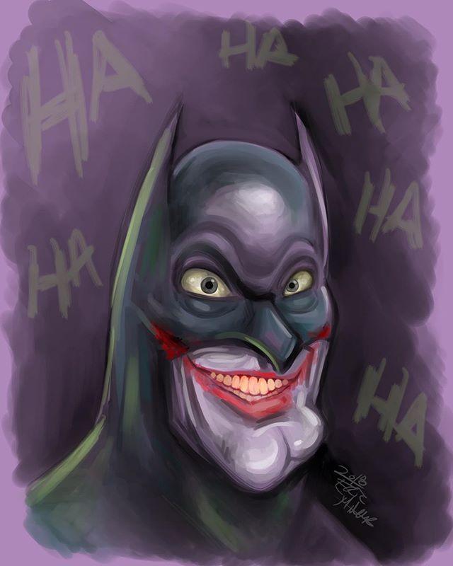 Things get weird when I sketch at 3am... #Batman #joker #dc #dccomics #digitalart #digitalpainting #comics #illustration #instaartist #artistsoninstagram #surface #surfacepro #clipstudiopaint
