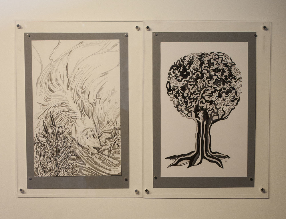 "Prompt 1: Does effective art depend on questioning or contentment with ones surroundings? Left: Lindsay Tebeck 11""x17"", mounted to 13""x19.5"" Pen and Ink on Bristol Right: Sarah Pierce 11""x17"", mounted to 13""x19.5"" Digital Print"