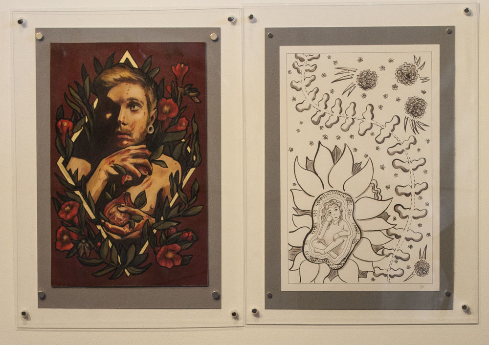 "Prompt 3: Where is passion for art drawn from? Left: Lindsay Tebeck 11""x17"", mounted to 13""x19.5"" Oil Paint on MDF Board Right: Sarah Pierce 11""x17"", mounted to 13""x19.5"" Pen and Ink on Bristol Board"