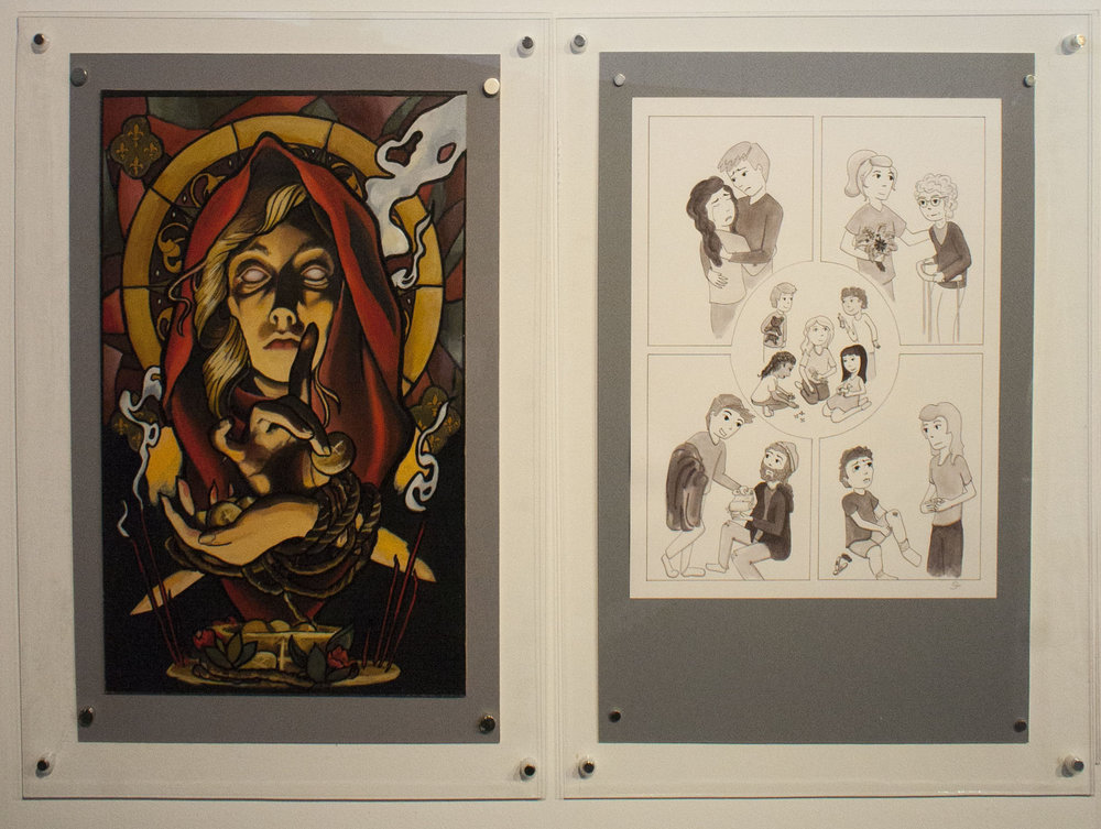 "Prompt 2: What does a person of faith look like? Left: Lindsay Tebeck 11""x17"", mounted to 13""x19.5"" Oil Paint on MDF Board Right: Sarah Pierce 11""x14"", mounted to 13""x19.5"" Pen and Ink on Bristol Board"