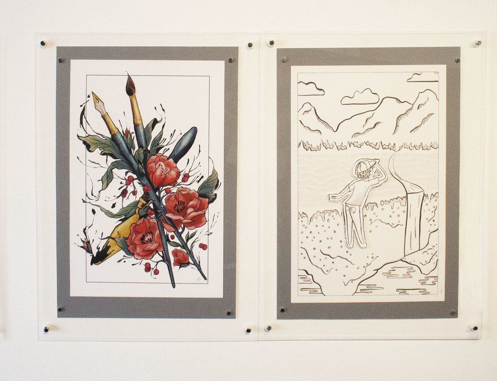 "Prompt 6: Is paradise found or created? Left: Lindsay Tebeck 11""x17"", mounted to 13""x19.5"" Digital Print  Right: Sarah Pierce 11""x17"", mounted to 13""x19.5"" Pen and Ink on Bristol Board"