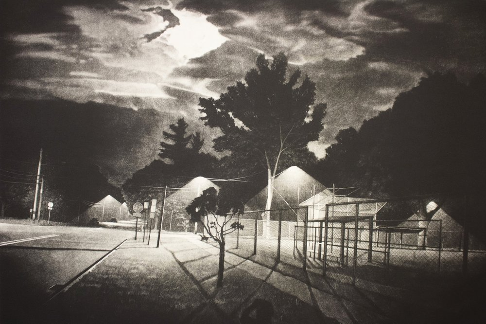 "Know Where / Nowhere / Now Here   44 x 31.5""  Mezzotint  2014"