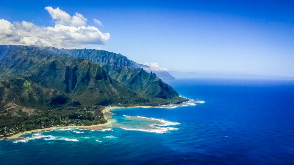 Coastline near Hanalei Bay on the North Shore of Kauai