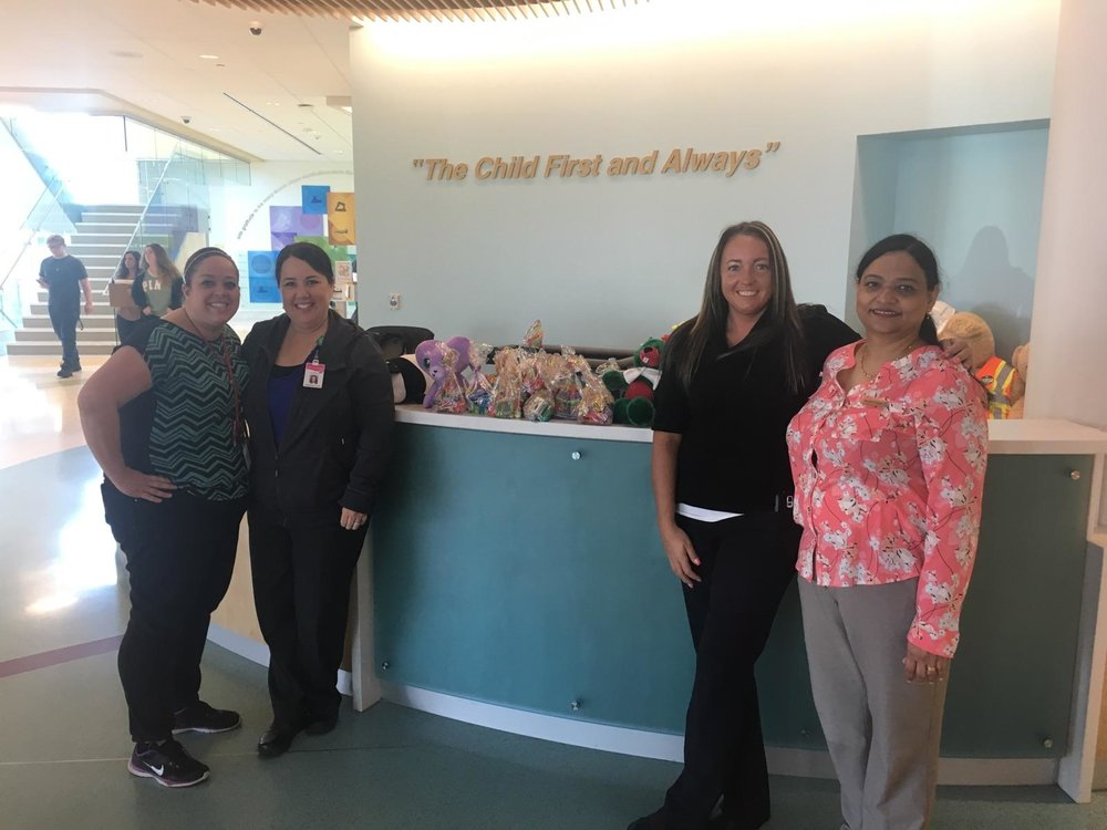 Night manager Jennifer,  housekeeping manager Jessica and HR director Beulah went to deliver 100 bags of candy to primary children's hospital.