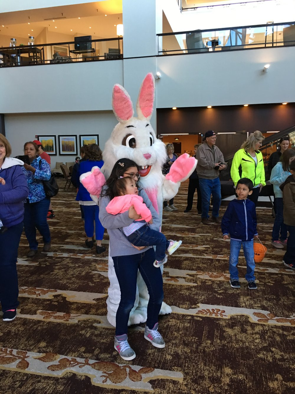 Easter bunny hanging with the kids.