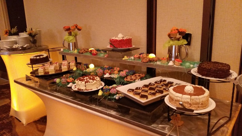 Our amazing dessert table at the easter brunch.