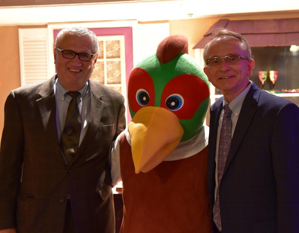 Raymond Rogiina, Felipe the Pheasant, & Mark Koenen