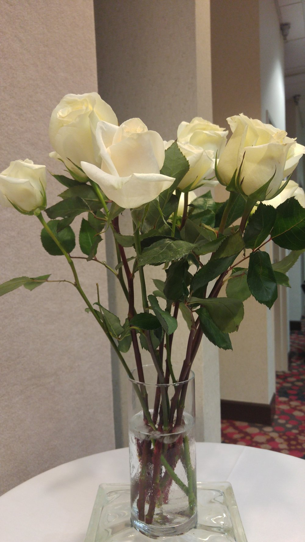 "Employees received a white rose as a ""thanks"" for taking time away from family to make our guests happy"