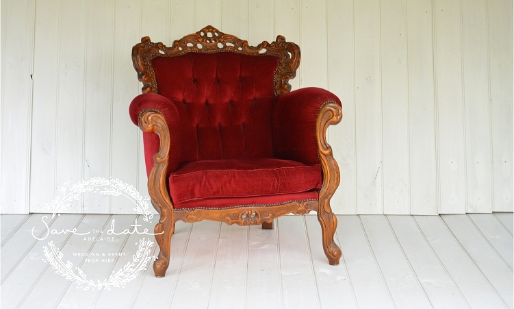 THRONE CHAIR RED - Lounges & Lounge Chairs — Save The Date Wedding & Event Prop Hire