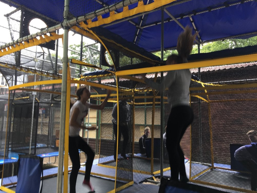 Group 2 are enjoying a competitive tournament of Aeroball (Basketball on trampolines). Everyone is having a fab time but it's a very tiring sport! Mrs Baker and Miss Loftus won't make it to day 3 at this rate.