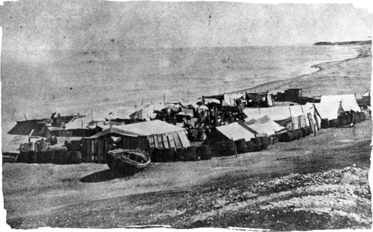 ייתכן שזה המחנה הארעי שהקימו האמריקאים על חוף ימה של יפו