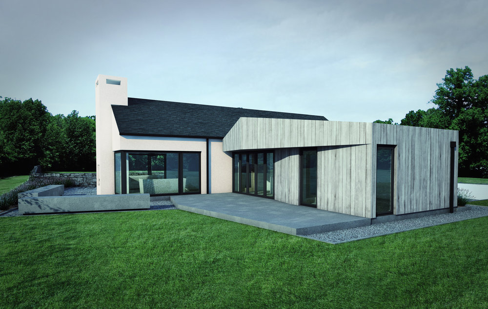 Derrylileagh Cottage - timber cladding, white render, bangor blue slate