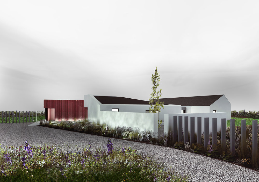 Lisnaclare House - red corrugated cladding, white render