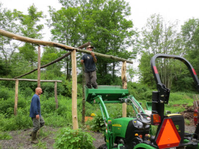 Pole barn construction with black locust logs, no footers or pressure treated wood necessary