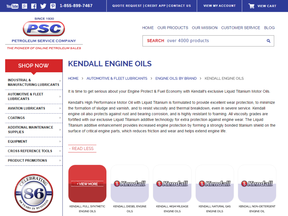"petroleumservicecompany.com has devoted a specific section of our online store to kendall motor oils. Browse this website, or shop online by clicking on any of our ""shop @ Psc"" buttons."