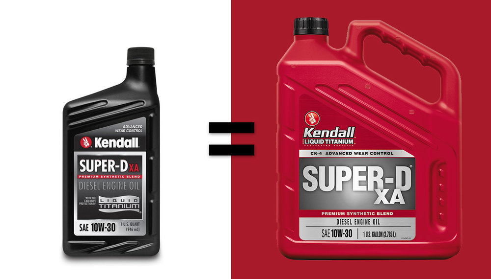 THE NEW AND IMPROVED KENDALL Super d xa, premium diesel motor oil.