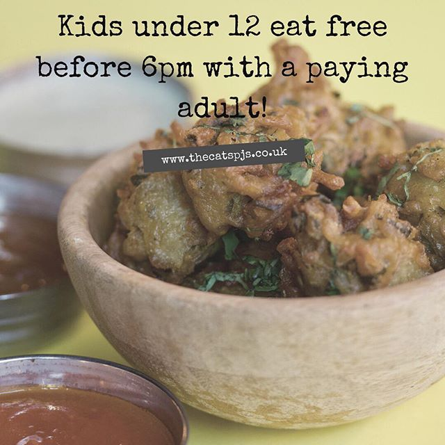 This makes a great lunch time outing at the weekend with the family! ⠀ Book your table via our website: www.thecatspjs.co.uk ⠀ #lunch #kids #kidsmenu #kidseatfree eatfree #indian #delicious #weekend #craftbeer #wine #food #foodie