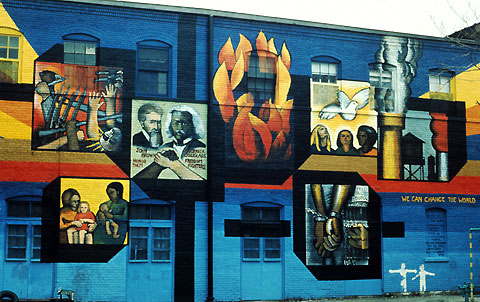 The Wall of Choices, one of Chicago Public Art Group's earliest murals by co-founder John Pittman Weber