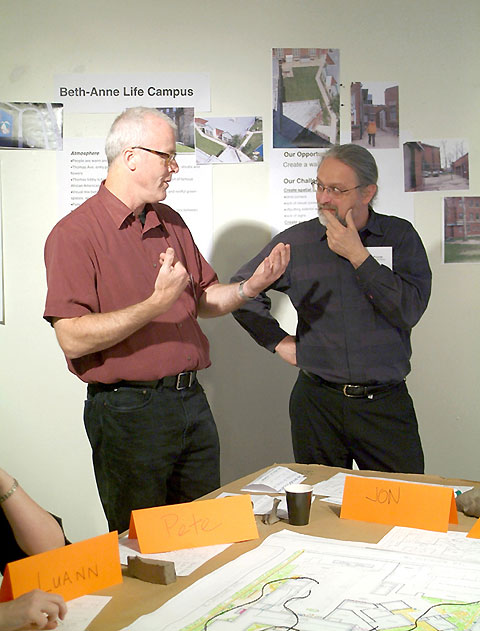 Architect Peter Landon and CPAG Executive Director Jon Pounds discuss some of the fine points of working in public spaces for the Beth-Anne Campus on Chicago's west side.