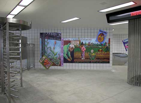 Cannas and Corn: a Garden Community, 2004, glass tile mosaic for a Chicago Transit Authority commission for the Blue Line Central Park Station, by Olivia Gude.