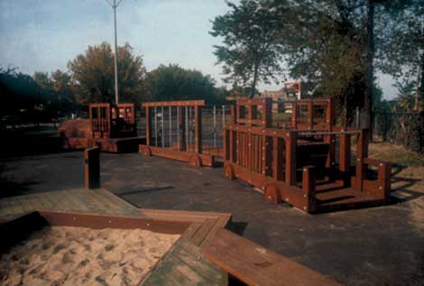 Pullman Playground, 1985, redwood and galvanized steel construction, by Jon Pounds and Olivia Gude