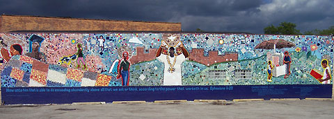 Changemakers , 2005, Acrylic on panels, Bricolage/Mosiac Central Park & Ogden (15x75 ft)