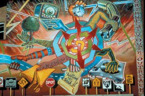 Shiva 2021, 1994, spray enamel and acrylic on brick, by John Pitman Weber, Dzine, and La Force Alphabetick