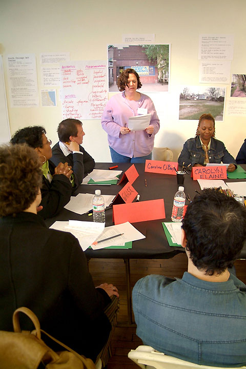 As part of Creating Places, Caroline O'Boyle of the Chicago Park District reviews planning ideas from a Creating Places 2007 working group for the South Chicago Art Garden.