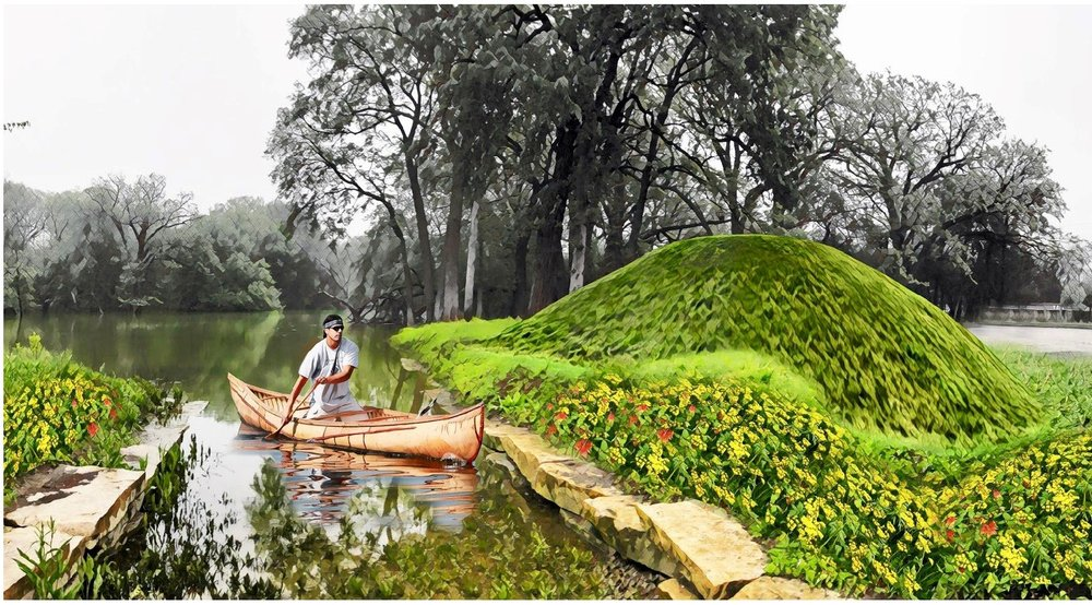 Serpent Mound - The Chicago Public Art Group is proposing the installation of an earthen mound along the canoe landing at the Des Plaines River in Schiller Woods