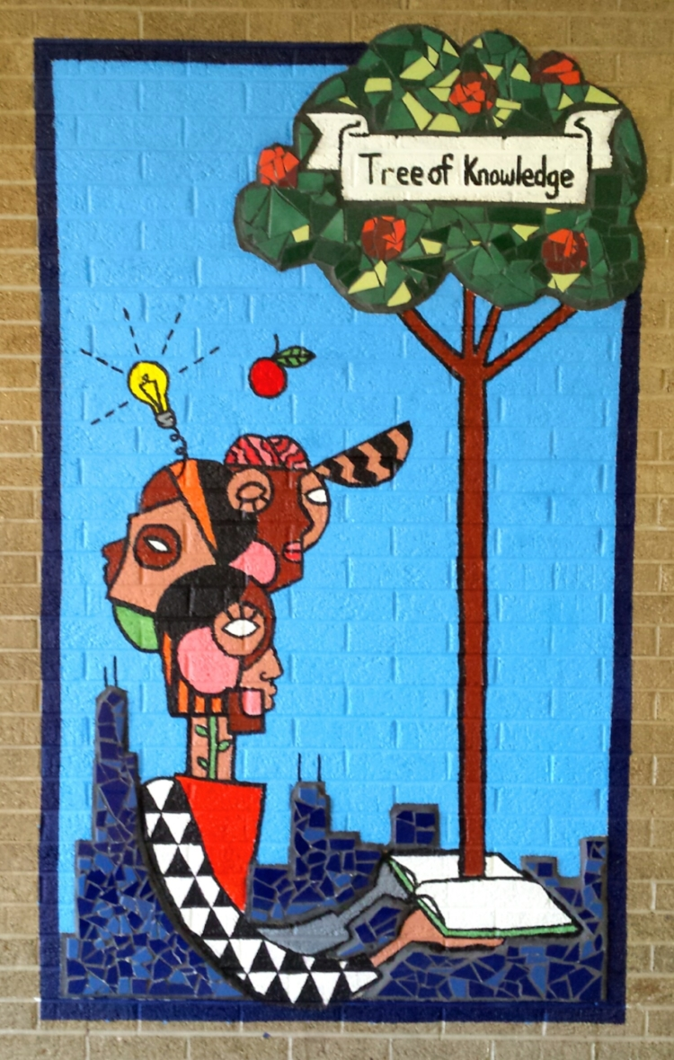 Knowledge is Power   2017  Lead Artist: Amanda Mudrovich  Location: Harlan Community Academy, 9652 S. Michigan Ave.  Sponsors: Metropolitan Family Services and CPAG  Amanda Mudrovich lead and taught a group of Harlan high school students to design and create an indoor bricolage mural in their school. CPAG is excited to be collaborating with Metropolitan Family Services and Harlan Community Academy High School again.