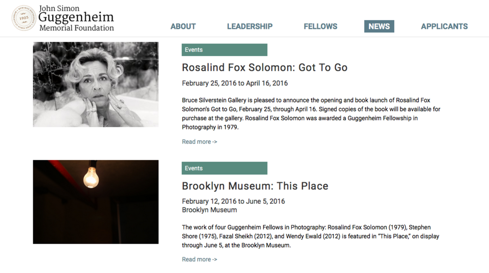Featured on the Guggenheim Foundation site, March 2016