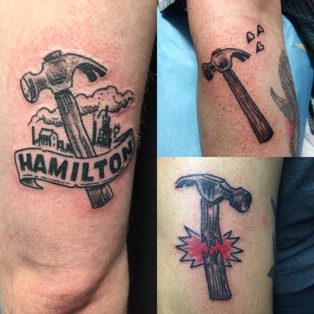 Get hammered tattoos by Os.