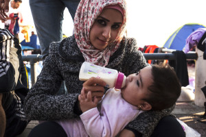 Refugee family mother and daughter