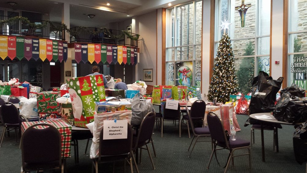 Gift sorting at Lutheran Church of the Redeemer