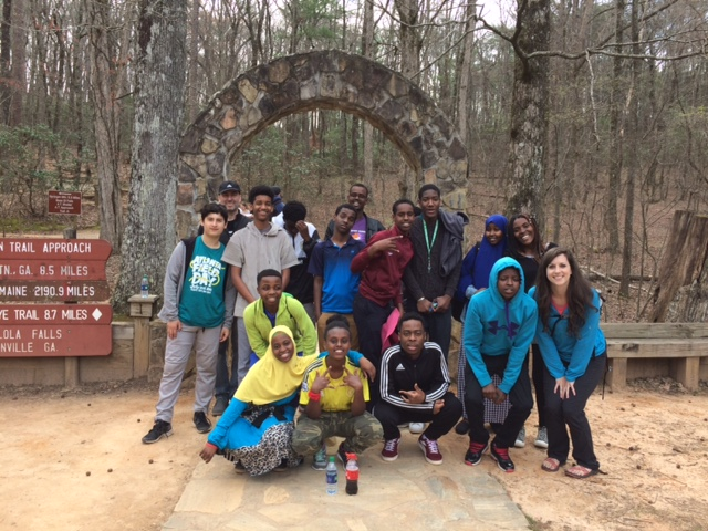 Participants in LSG's after school club pose during a recent field trip to Amicalola Falls