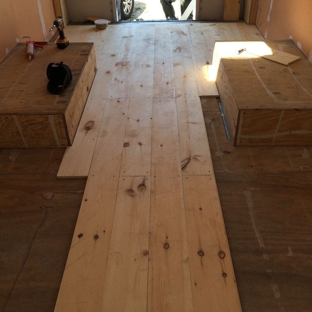 Floor boards being put it.