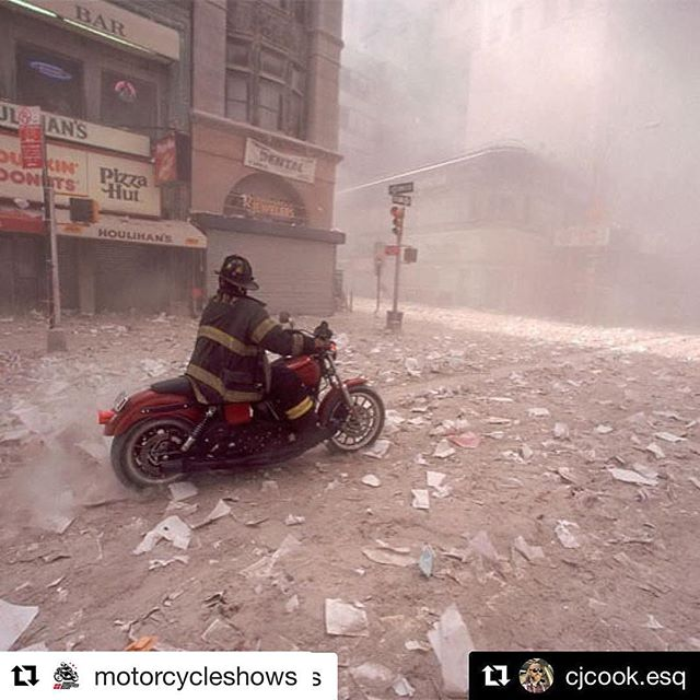 """Never Forget 🇺🇸🇺🇸🇺🇸 #Repost @motorcycleshows (@get_repost) ・・・ Thank you @cjcook.esq for recognizing this hero and all those who were lost that day. Very well written and we had to share #Repost @cjcook.esq (@get_repost) ・・・ Firefighter Tim Duffy was one of the many who responded to the call that day.  He rode his bike in to the chaos and made it to the steps of the south tower as it began to collapse.  He was toppled by debris and when the 110th floor hit the ground, he was blown down the street and into a store front.  He cleared the store and came upon a FDNY search and rescue brother who had a compound fracture and needed help.  He loaded him and another wounded person and drove them to the hospital where the trauma doctors asked """"where's the rest?"""" He went back to ground zero and drove the truck he had commandeered into the ground looking for anyone he could assist.  This year he rode across the country to raise awareness for veterans and first responders who suffer from PTSD.  A former seaman and now retired from firefighting due to the damage caused by 9/11, Firefighter Duffy continues to serve America and help those in need.  I won't ever forget where I was and what I was doing on that day and will ALWAYS remember 9/11 for the selfless acts of my brothers and sisters who answered the call on a day our country suffered such tragedy.  The difference between heroes and superheroes is that heroes don't have superpowers, they have huge hearts and an indomitable will.  I want September 11th to be remembered for its heroes and their indomitable will that could not be stopped by terrorism.  #september11 #neverforget #thinblueline #thinredline #fdny #nypd #nyc #somerset #pentagon"""