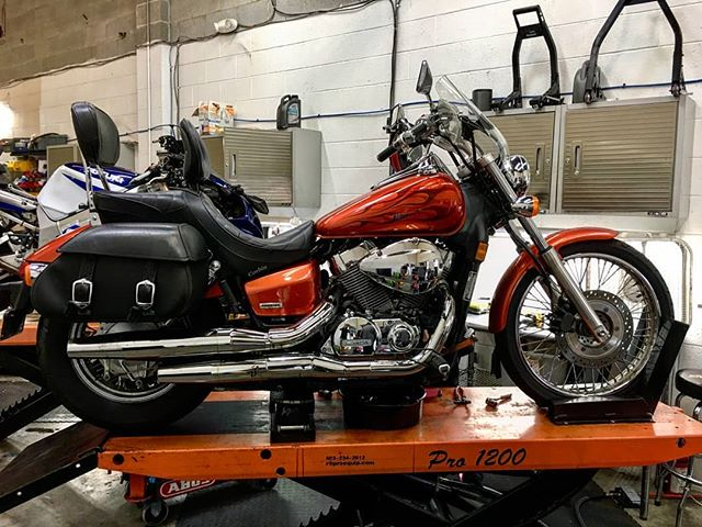 Honda Shadow in for its 20,000 mile service . . #honda #hondashadow #dc #dcmoto #maryland #collegepark #umd #goterps #nova #northernvirginia #federalcycles