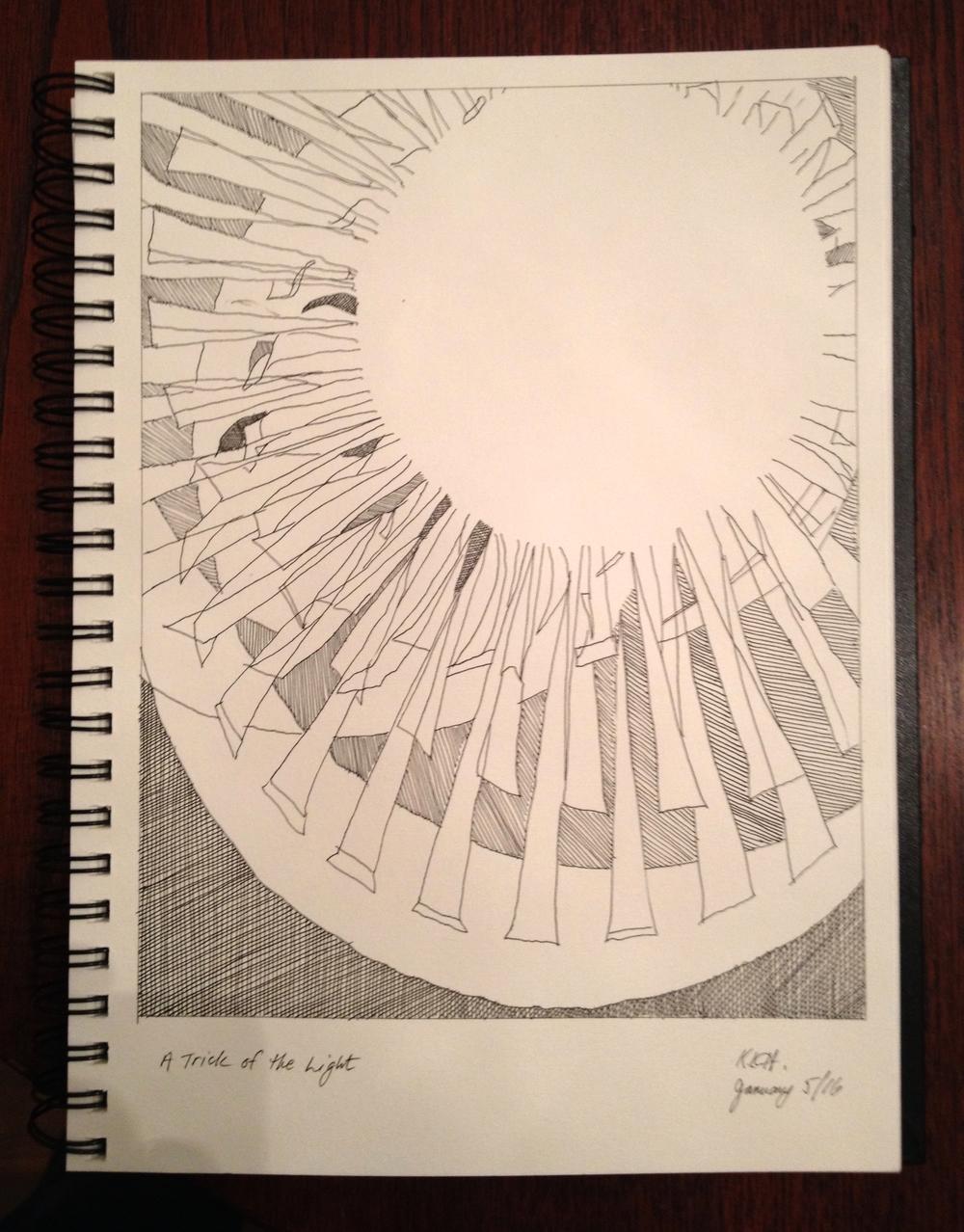 """A Trick of the Light"" Art journal, ink, 8 x 10"""