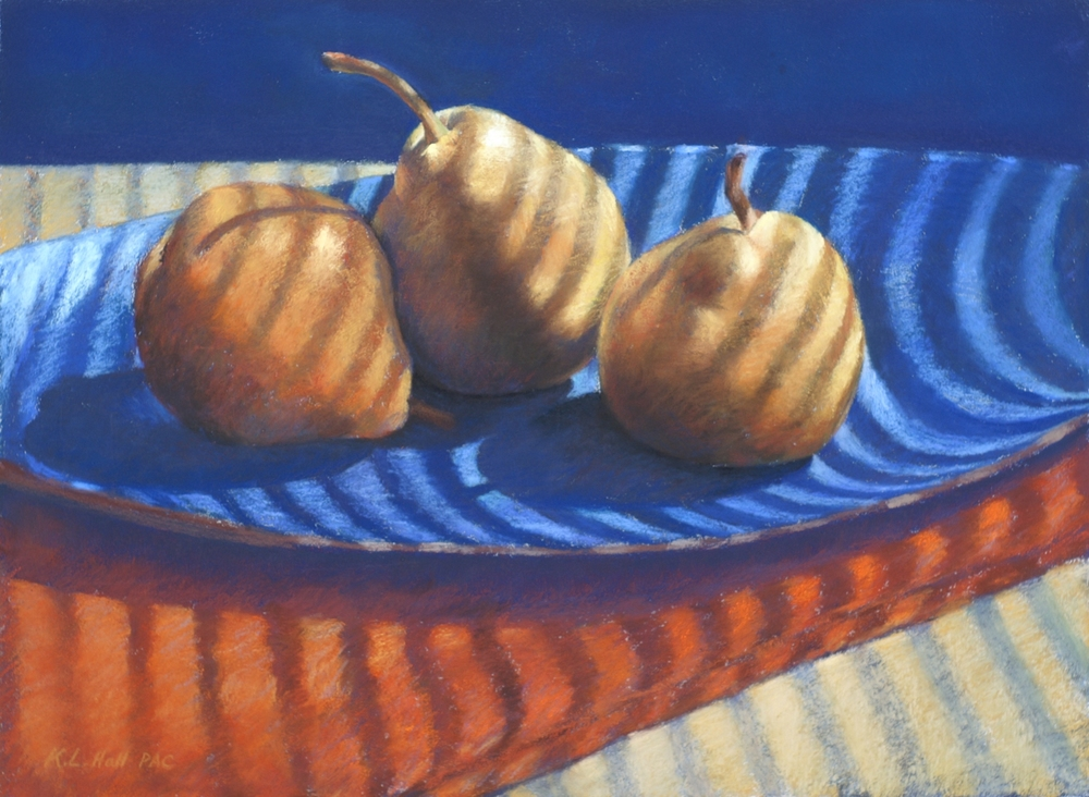 Pear Trio II, Blue Platter