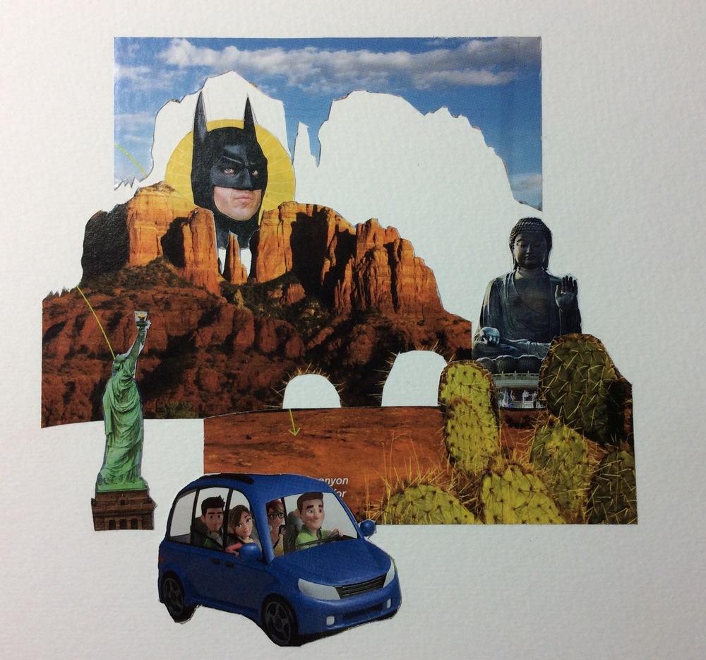 """Batman Rising"" Art journal, collage, 6 x 6"""