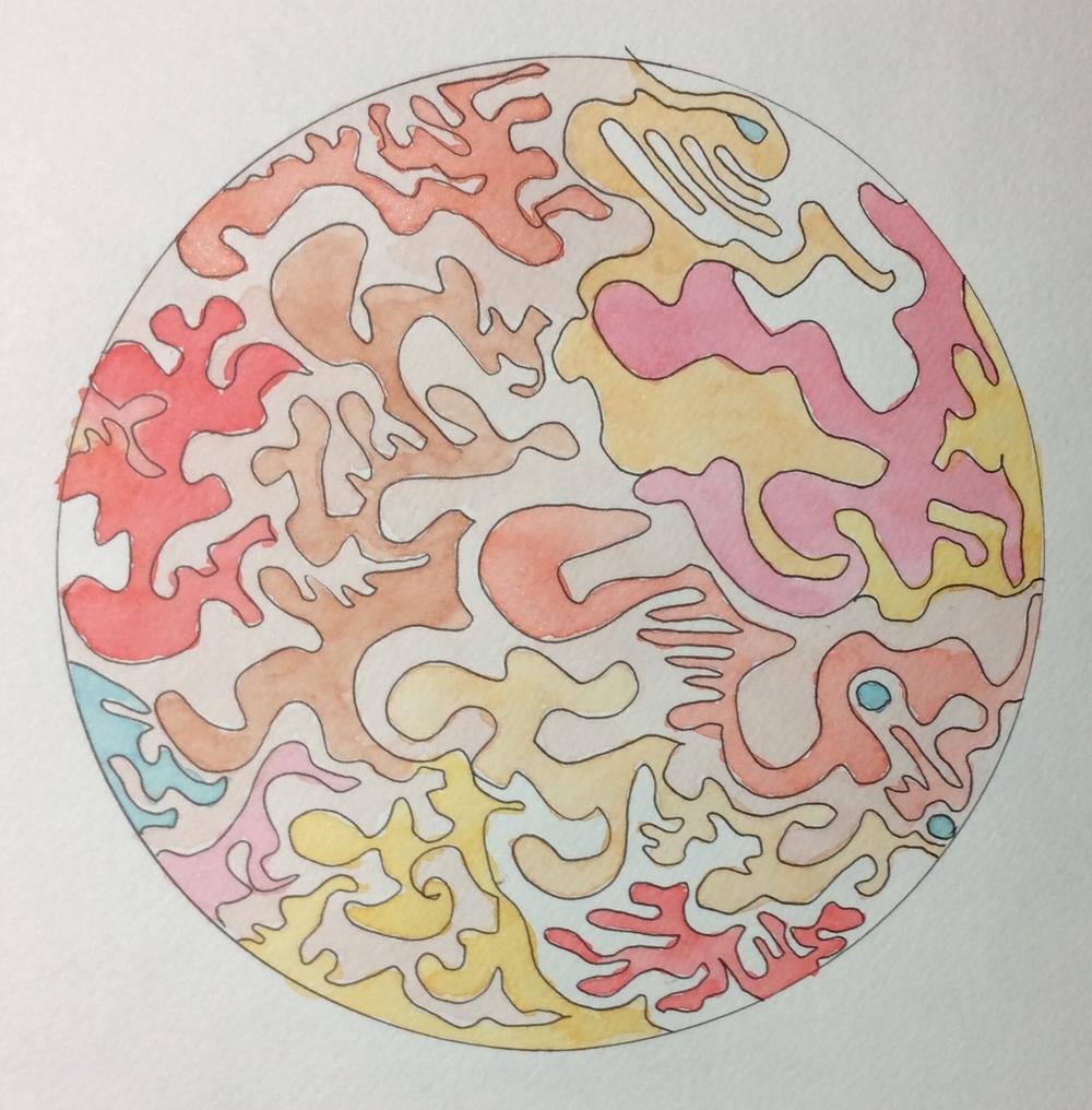 """Bedtime Mandala"" Art journal, watercolour and ink, 5 X 5"""