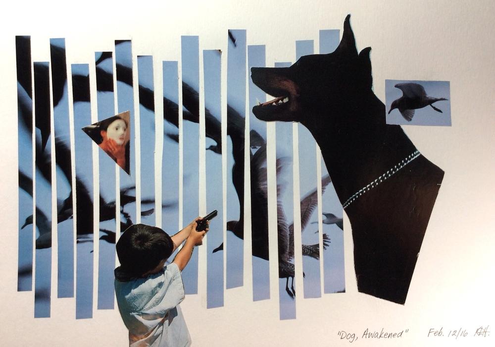 """Dog, Awakened"" Art journal, magazine collage."
