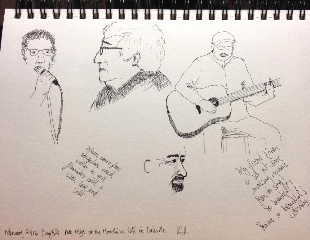 """Folk Night at the Moonshine Cafe in Oakville"" Art journal, ink."