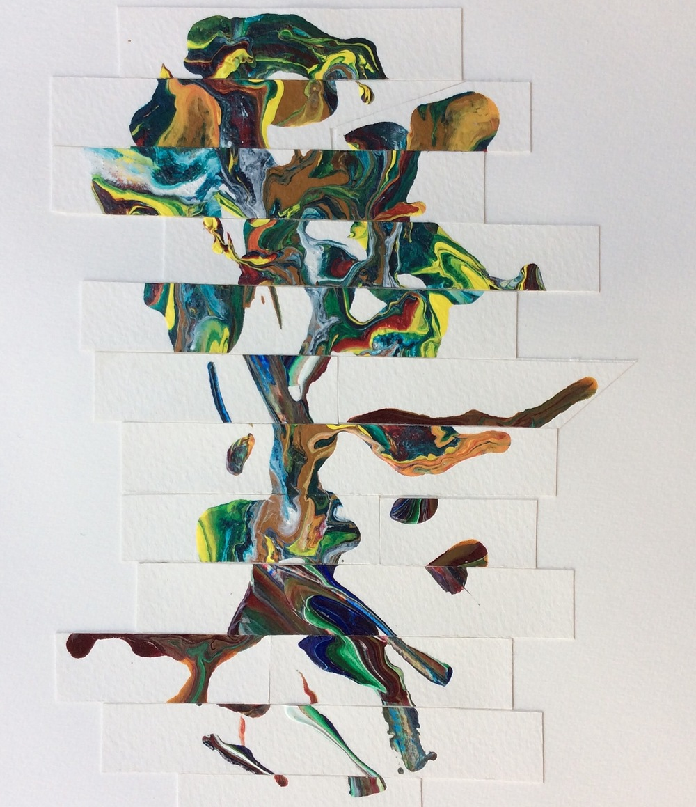 """""""Friendship Tree"""" Art journal, collage of acrylic on paper"""