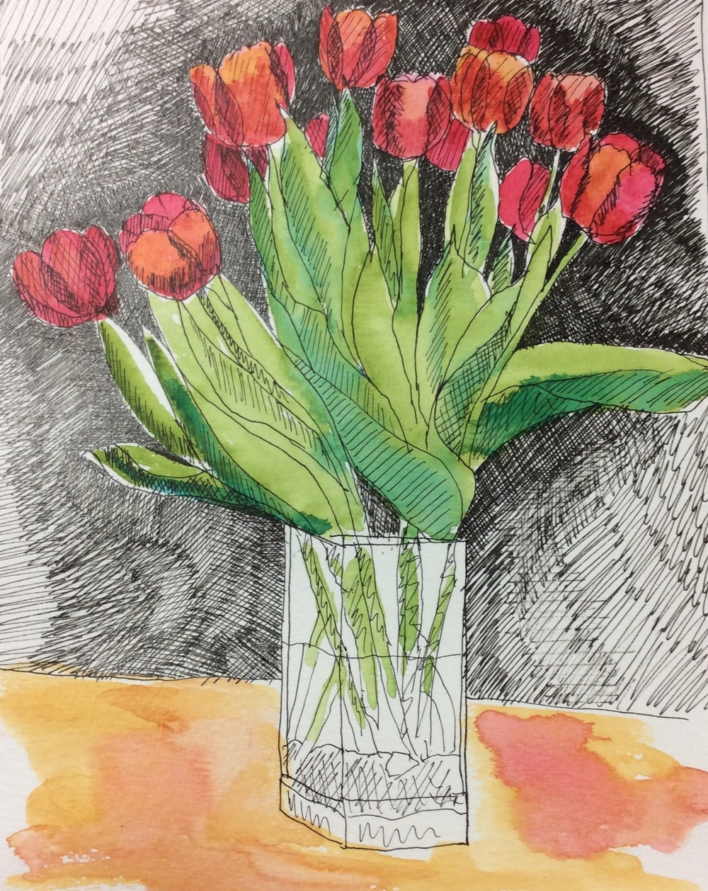 """Wanda's Tulips"" Art journal, ink and watercolour"
